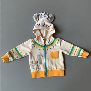 Doodle Pants sweatshirt/jacket with lama hoodie